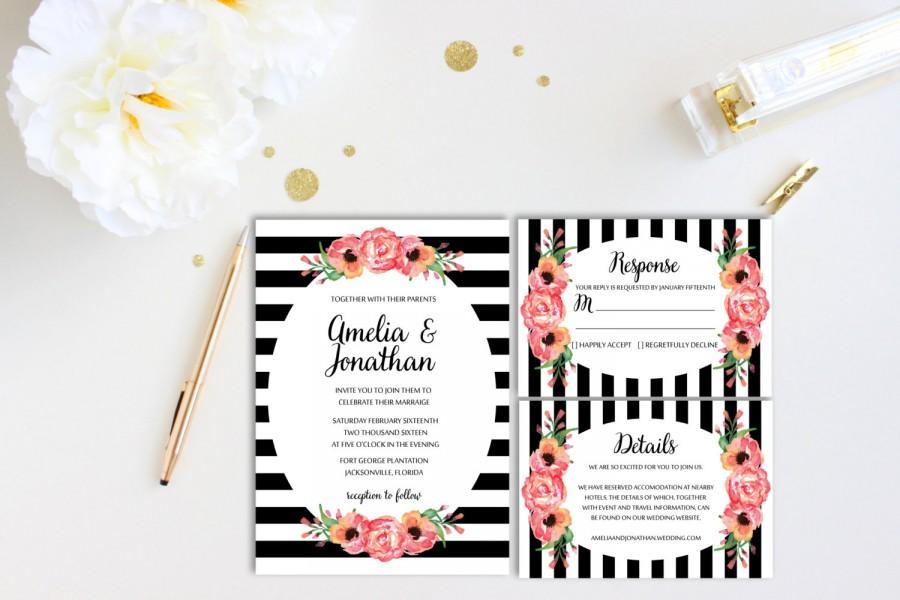 Black And White Stripe Wedding Invitation With Floral Details
