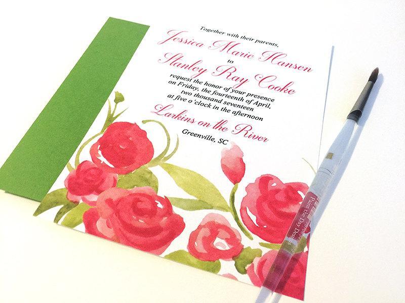 "Hochzeit - Watercolor Wedding Invitation Card - Garden Wedding Invitation ""Summer Blooms"" Watercolour Wedding Invite - Shabby Chic Wedding Invitation"