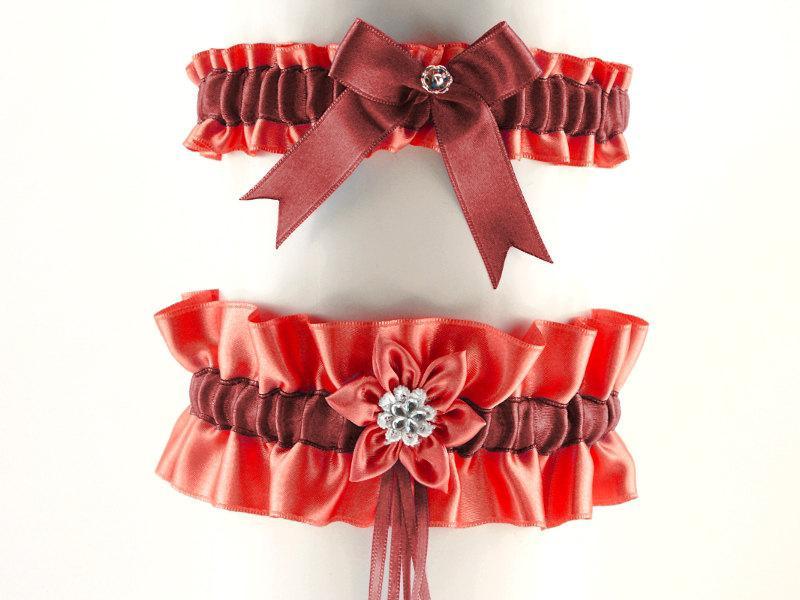Hochzeit - set bridal garter red, burgundy garter in wedding, vintage style, wedding lingerie, handmade red garter is stretching, bride garter 07C