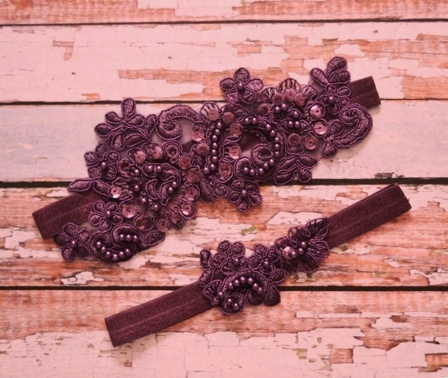 Mariage - Plum Wedding Garter, Wedding Garter Set, Plum Lace Wedding Garter Set, Eggplant Purple Beaded Lace Garter Belt, Vintage Style Garter Set