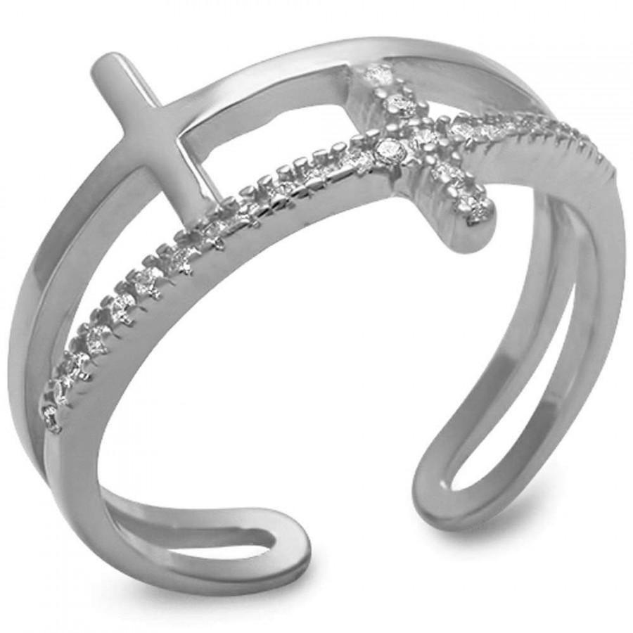 زفاف - Open Double Sideways Cross Ring Pave Diamond Russian Iced Out CZ Rhodium Solid 925 Sterling Silver Size 4-10