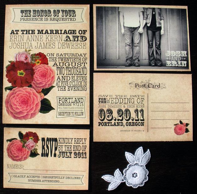 Свадьба - Printable Vintage Wedding Invitation and RSVP card