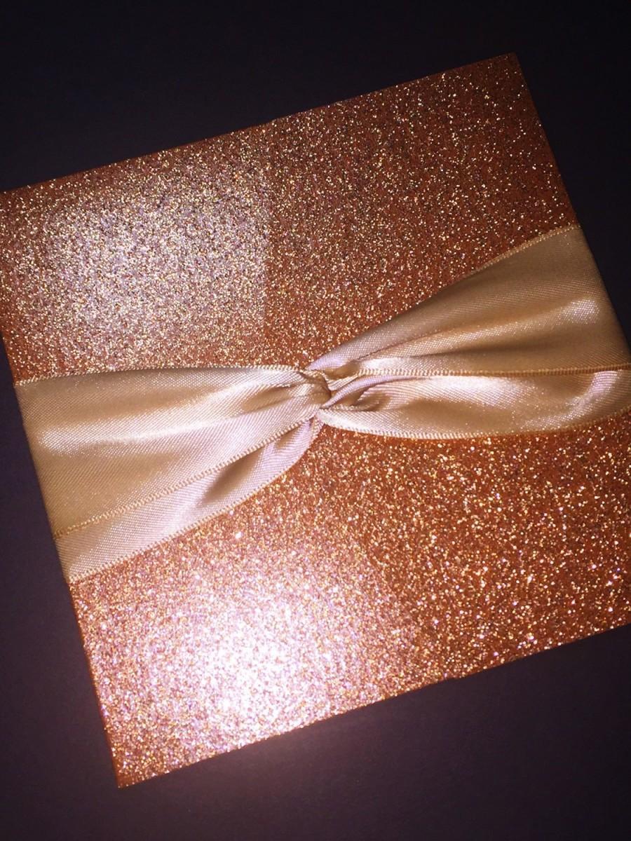 Свадьба - Rose Gold Glitter and Foil Wedding Invitation, Classic Glam Wedding Invitation, Elegant Formal Script Wedding Invitation, Foil, Gold, Silver