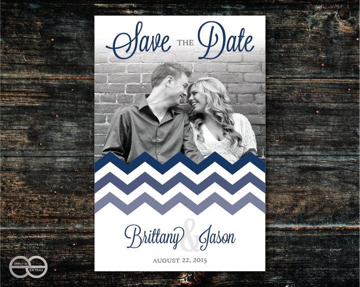 Wedding - Printable Save the Date - Chevron 01 - Digital, Ready to Print