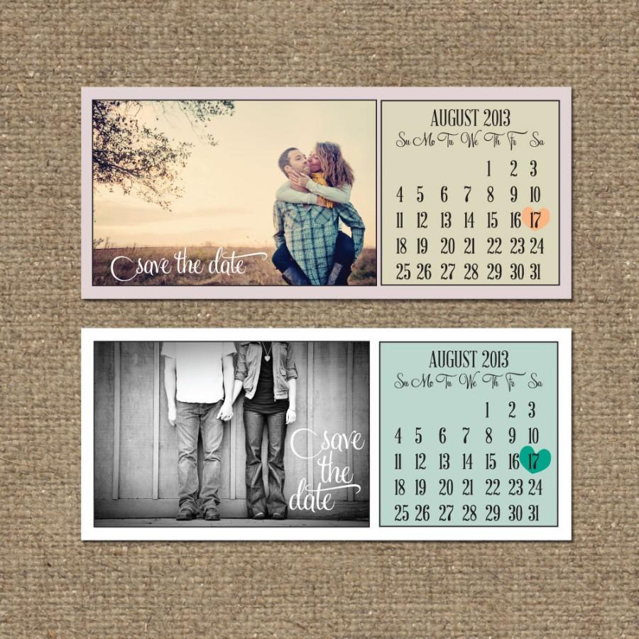 Wedding - Printable Save The Date Calendar PDF // Modern, Simple Design