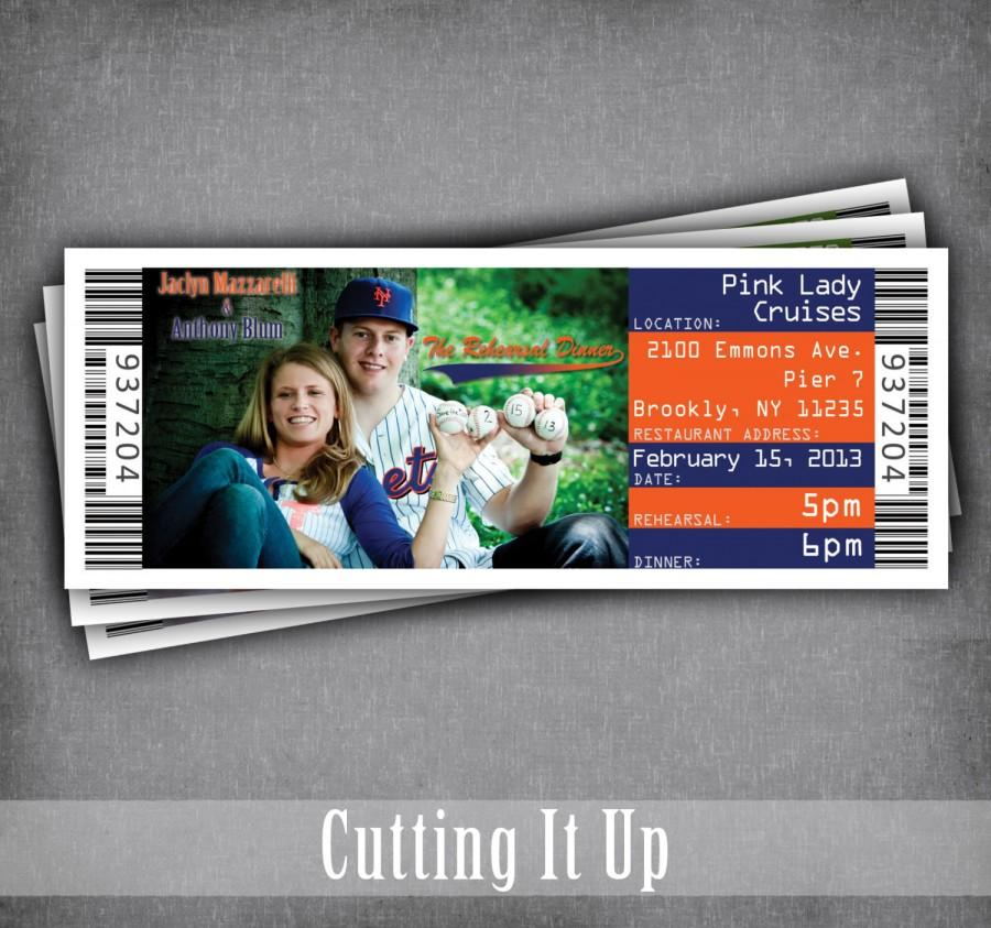 baseball wedding rehearsal dinner invitation ticket baseball ticket