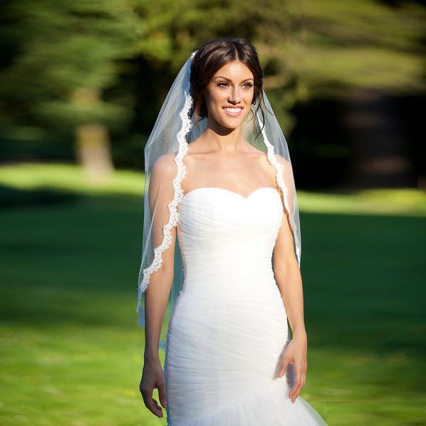Свадьба - Lace elbow length wedding veil, diamond white, one tier, cheap, fingertip length with attached comb