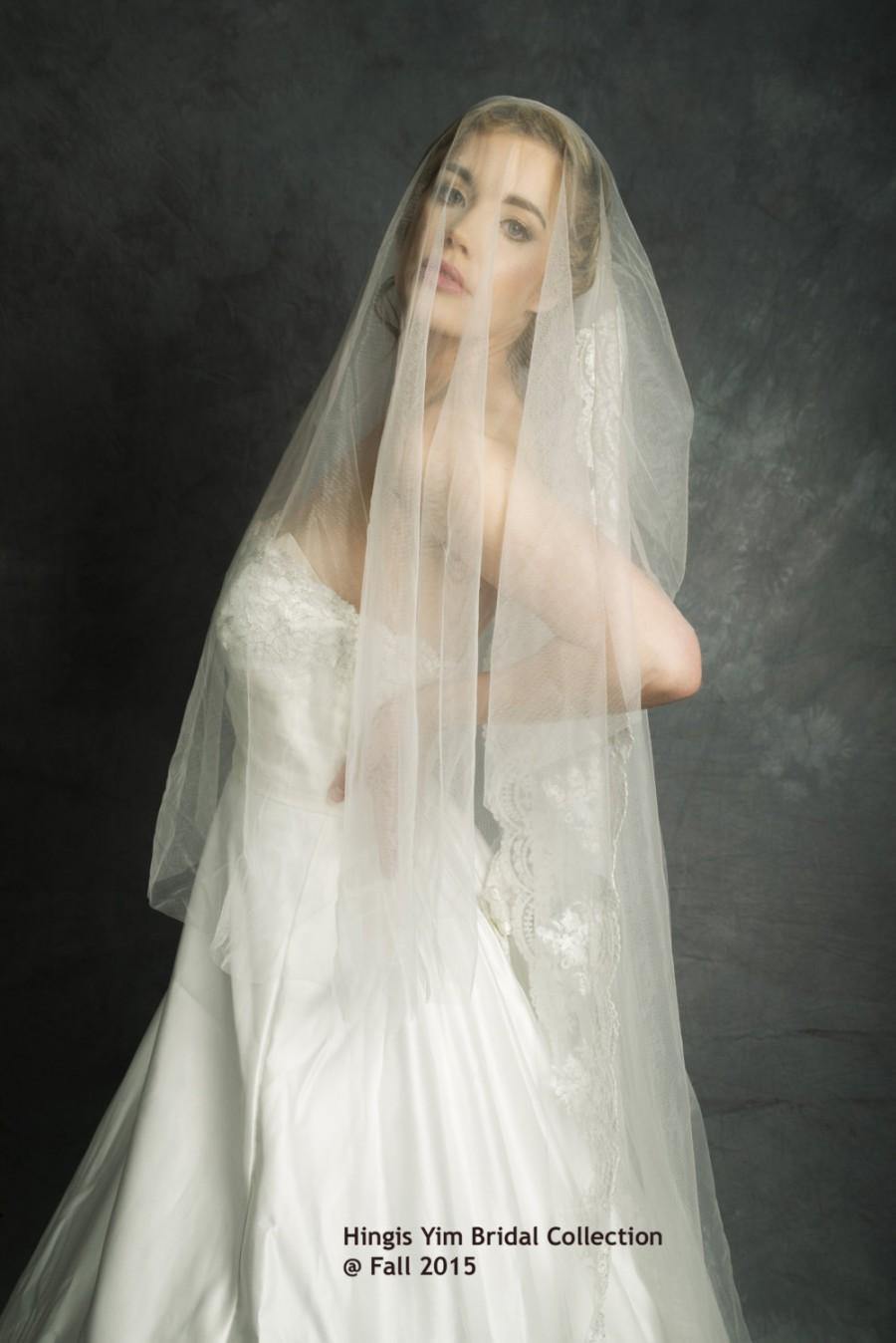 Hochzeit - Light Ivory Vintage Style Lace beads Bridal Wedding 2 layers / 2Tiers chapel veil / soft Tulle Cap veil in 205cm is for sale.