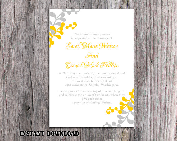 Boda - DIY Wedding Invitation Template Editable Word File Download Printable Leaf Invitation Elegant Yellow Gold Invitation Gray Silver Invitation