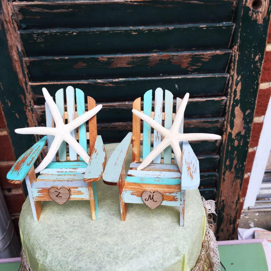 Perfect Ombre Beach Wedding Cake Topper With Starfish Adirondack Chairs Cake Topper  Personalized Initials Set Of Two Chairs Something Blue Mint