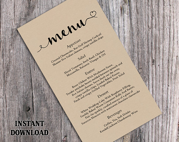 Burlap Wedding Menu Template Diy Menu Card Template Editable Text