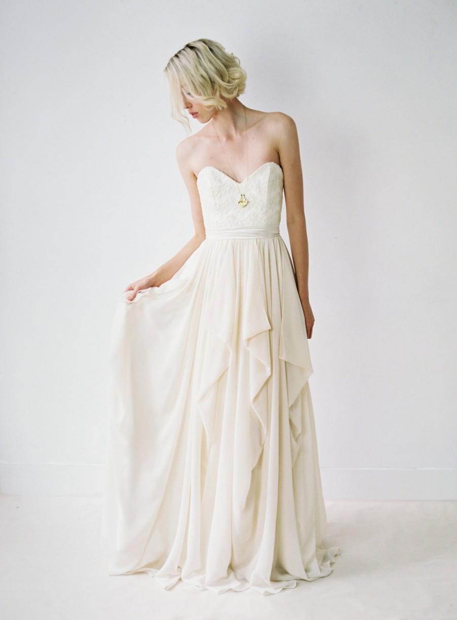 Wedding - Natalie // Strapless Wedding Gown With Cascading Chiffon Skirt