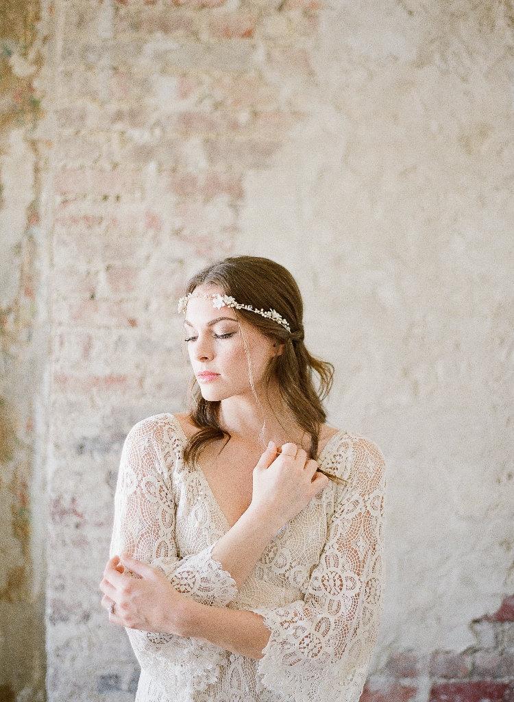 Mariage - FLORA Wedding Hair Vine, Gold Hair Piece, Crystal Bridal Headpiece, Bridal Headpiece, Gold Hair Vine