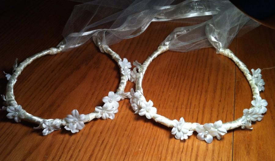 Свадьба - 16 Flower Communion Floral Ribbon Crown Halo Head Piece Wreath Garland Sage Light Green Ivory C-Jean