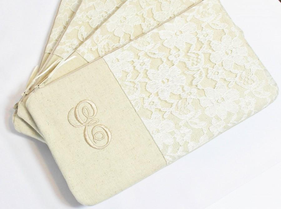 Mariage - Personalized Linen and Lace Clutch-Wristlet - Bridesmaid Clutch - Natural, Ivory, White, Grey