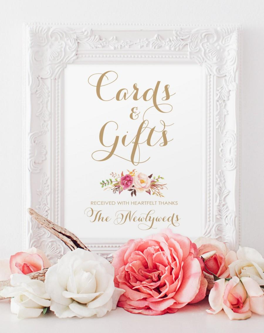 "Hochzeit - Cards and Gifts Sign - 8 x 10 - ""Vintage"" antique gold script and Romantic Blooms floral element - PDF and JPG files - Instant Download"