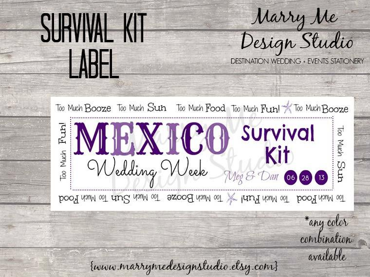 زفاف - Destination Wedding Survival/Hangover Kit Label, Custom/Personalized