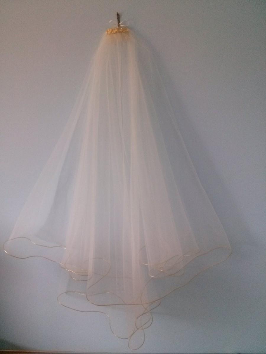Wedding - Two tier gold trim wedding veil.  2 tier gold edge veil.  Gold veil