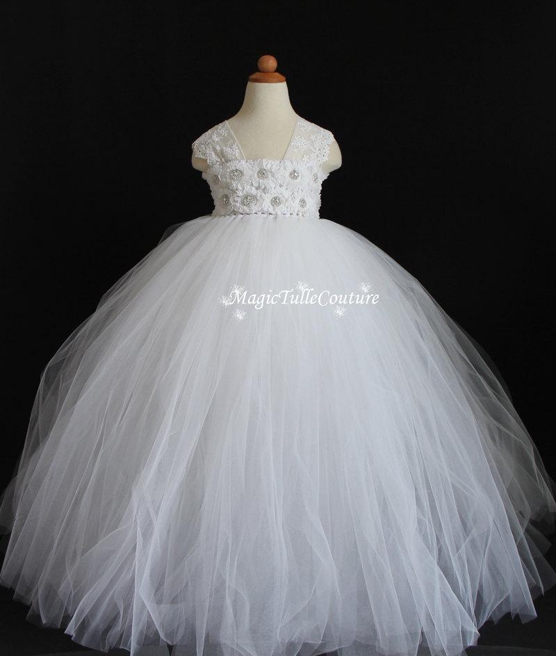 Hochzeit - Off White Flower Girl Dress Tutu Dress Tulle Dress Wedding Dress Toddler Dress Birthday Dress Party Dress Ocassion Dress