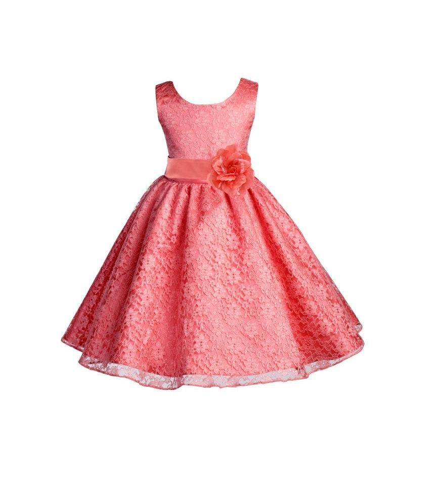 5834513fb330 Wedding Floral Lace Overlay coral flower girl dress toddler baby special  occasions bridesmaid toddler size 6-9m 12-18m 2 4 6 8 10 12