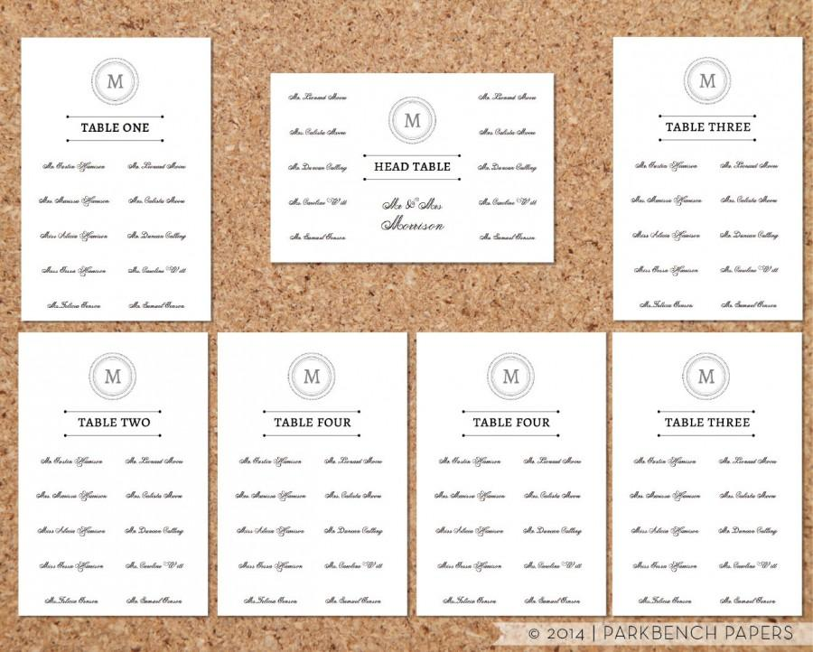 Seating Chart Template   Classic Monogram Design   DIY Editable Word  Template, Instant Download, Printable  Free Wedding Seating Chart Templates
