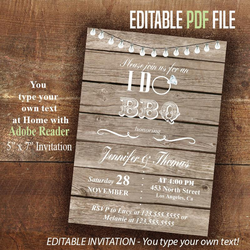 زفاف - I DO BBQ Invitation, Printable couples shower invite, Instant Download Editable PDF File, You type your own text with Adobe Reader A1016
