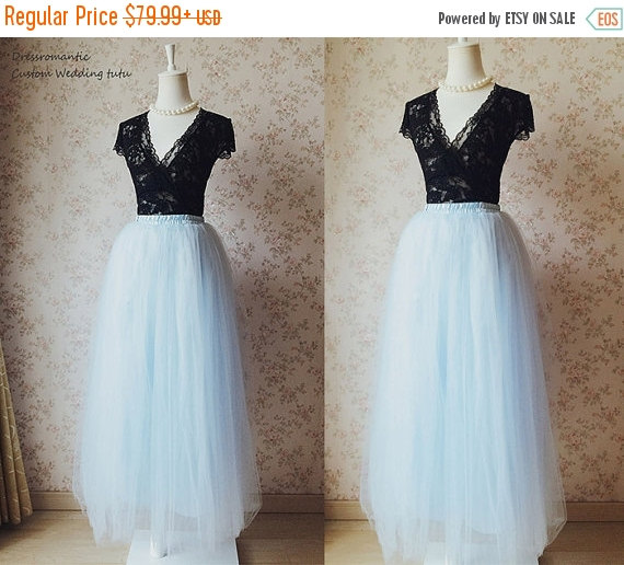 Mariage - 2016 Sky-Blue Maxi Tulle Skirt. Elastic Long Floor Length Tulle Skirt. Adult Tulle skirt. Romantic Summer Blue Wedding. Bridesmaid Skirt