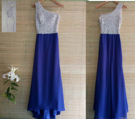 زفاف - Free shipping customized hand-beaded one shoulder royal blue chiffon mermaid bridesmaid dresses long prom dresses