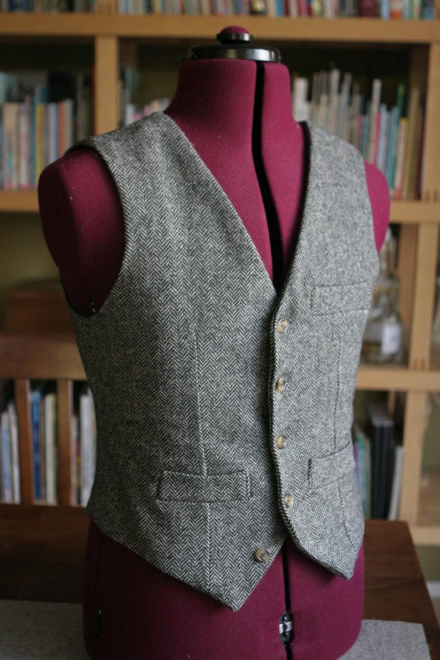 Mariage - Non Pleated  Back Adult wool Vest Made to your measurements Groom / groomsmen