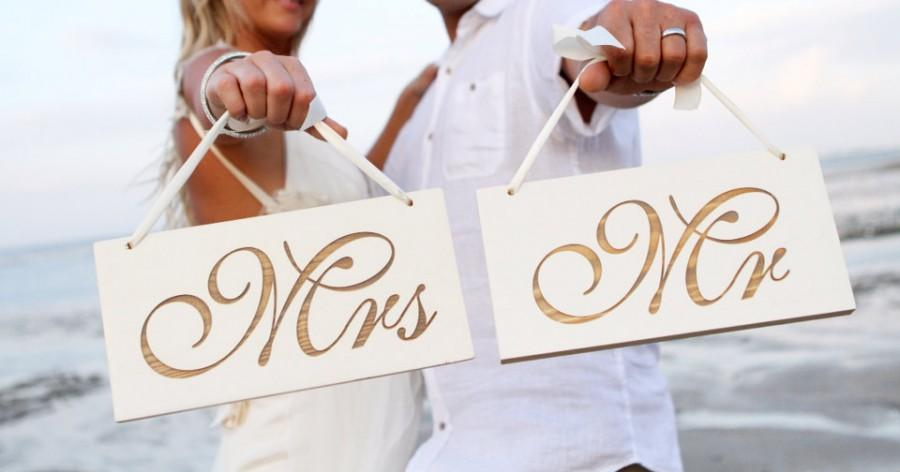 Mr And Mrs Wedding Signs Photo Prop Sweet Heart Table Chair Laser Engraved