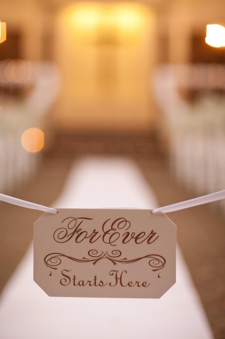 "Mariage - Wedding Sign ""Forever Starts Here"" Hand Painted"