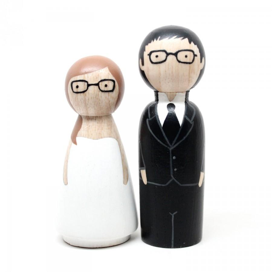 Mariage - Peg Doll Wedding Cake toppers shorter bride by Goose Grease -The Original - wooden dolls