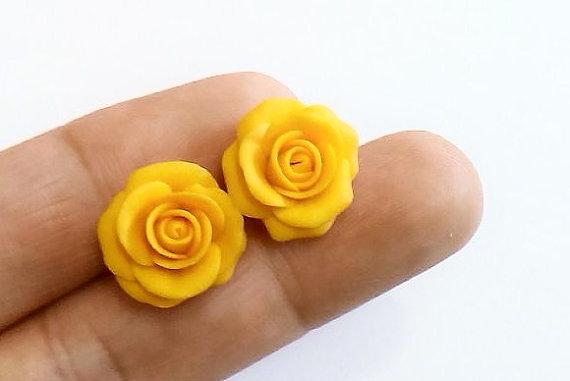 Yellow rose stud earrings yellow wedding jewelry small flower yellow rose stud earrings yellow wedding jewelry small flower stud earrings jewelry bride yellow yellow flower mightylinksfo