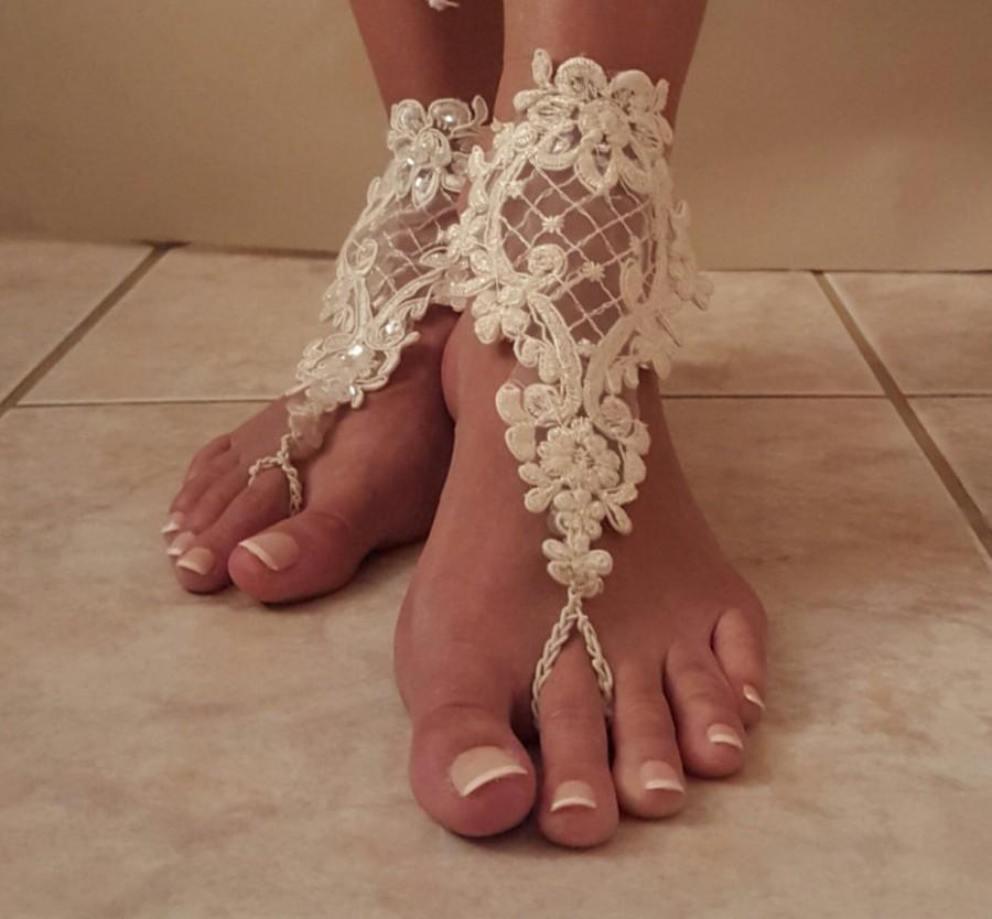 Wedding - Barefoot Wedding Sandals,Barefoot Sandals,Lace Barefoot Sandals,Poolside Sandals,Wedding night Sandals,Bridesmaid's gift,Lace Wedding shoes