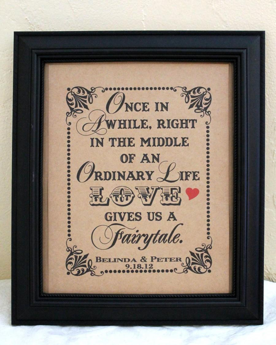Mariage - 8 x 10 PERSONALIZED Love Gives Us A Fairytale Wedding Sign - Single Sheet (Style: FAIRYTALE)