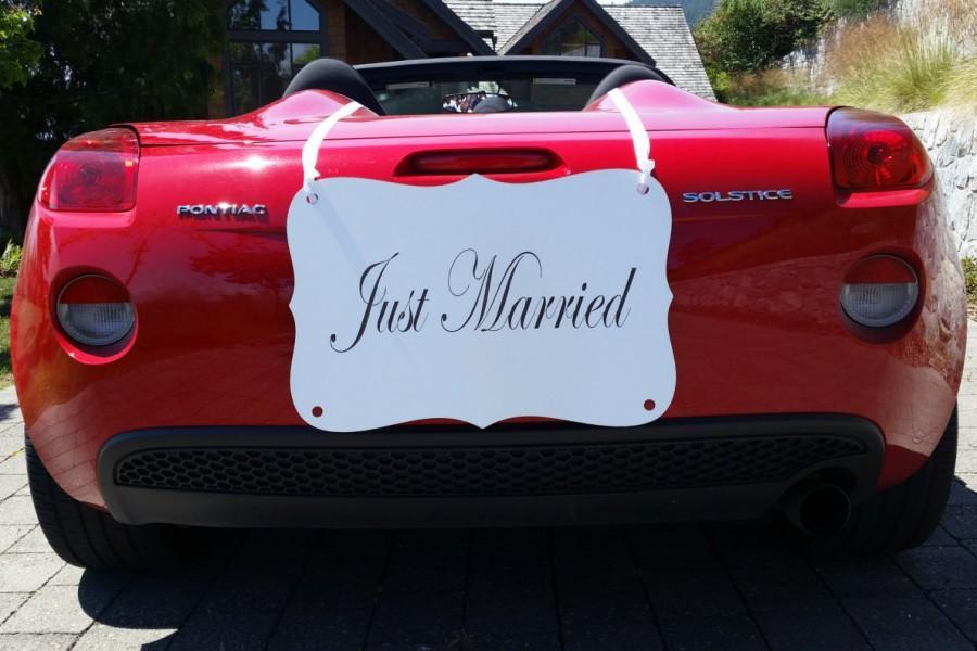 """زفاف - LARGE """"Just Married"""" Car Sign"""