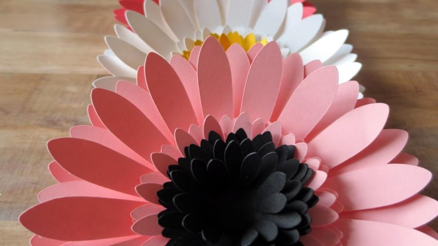 Paper gerbera daisies set of 3 wedding table centerpieces paper gerbera daisies set of 3 wedding table centerpieces party decor photo prop wall art colorful large flower blooms mightylinksfo