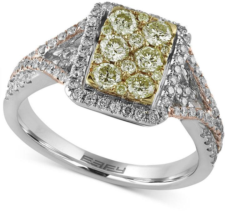 b2c3b016c Canaré by EFFY Diamond Tri-Color Ring (1 ct. t.w.) in 14k White, Yellow and  Rose Gold