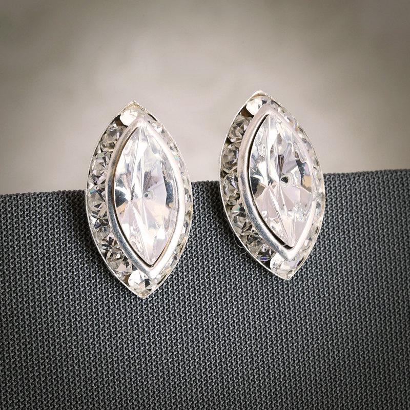 Petra Swarovski Marquise Oval Crystal Rivoli Bridal Stud Earrings Wedding Jewelry Bridesmaids Post Modern Vintage