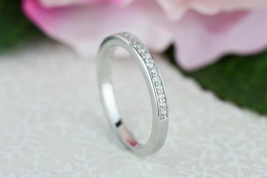 small channel set half eternity ring 2mm wedding band