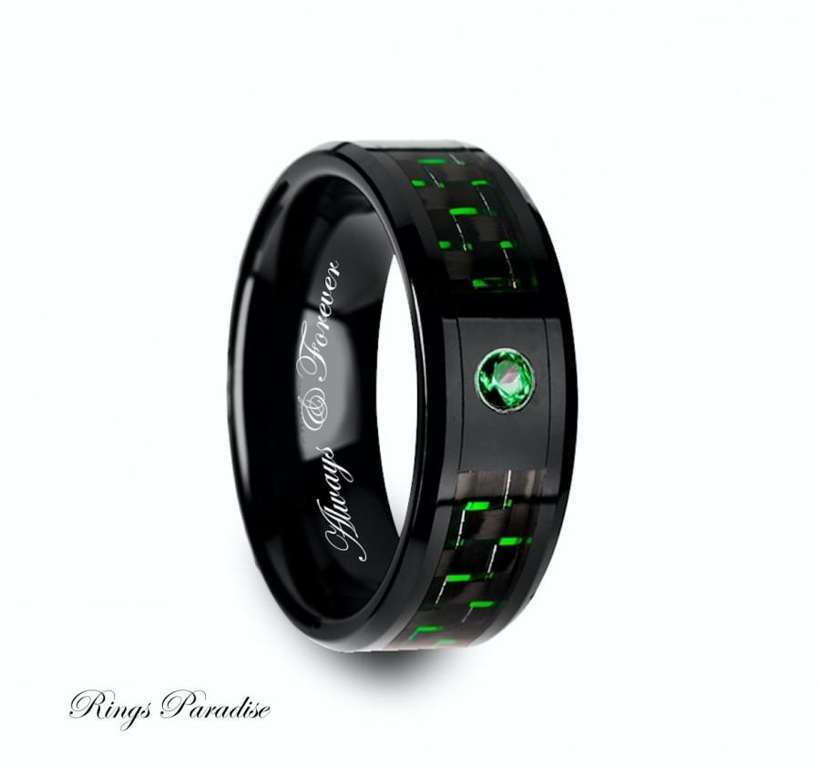 Ceramic Ring Emerald Stone Mens Black Ceramic Ring Green Carbon Fiber Ceramic Band Anniversary Gift Men Wedding Ring Mens Ceramic Ring  sc 1 st  Weddbook & Ceramic Ring Emerald Stone Mens Black Ceramic Ring Green Carbon ...