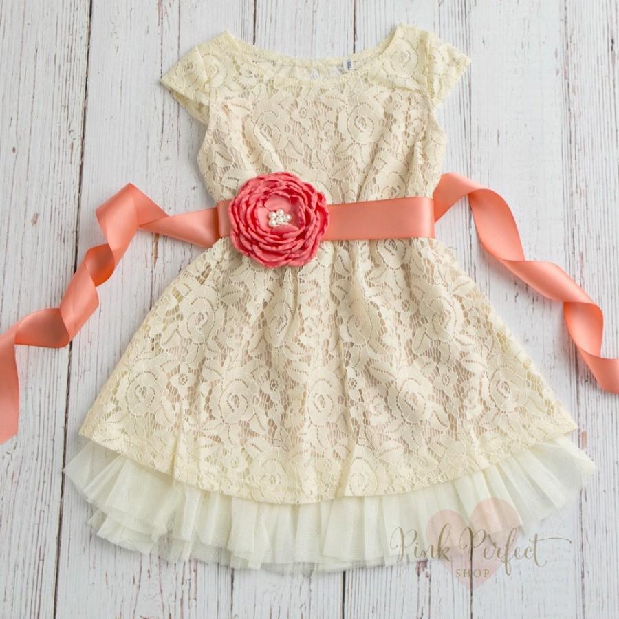 Wedding - Girls dress, lace flower girl dress, Rustic flower girl dress, Country flower girl dress, Birthday dress, Coral flower girl dress,Baby Dress