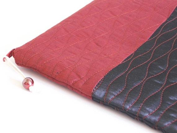 Mariage - Raspberry Wedding Clutch, Black Prom Clutch, Evening Clutch Wallet, Cosmetic Bag, Preppy Girl Clutch