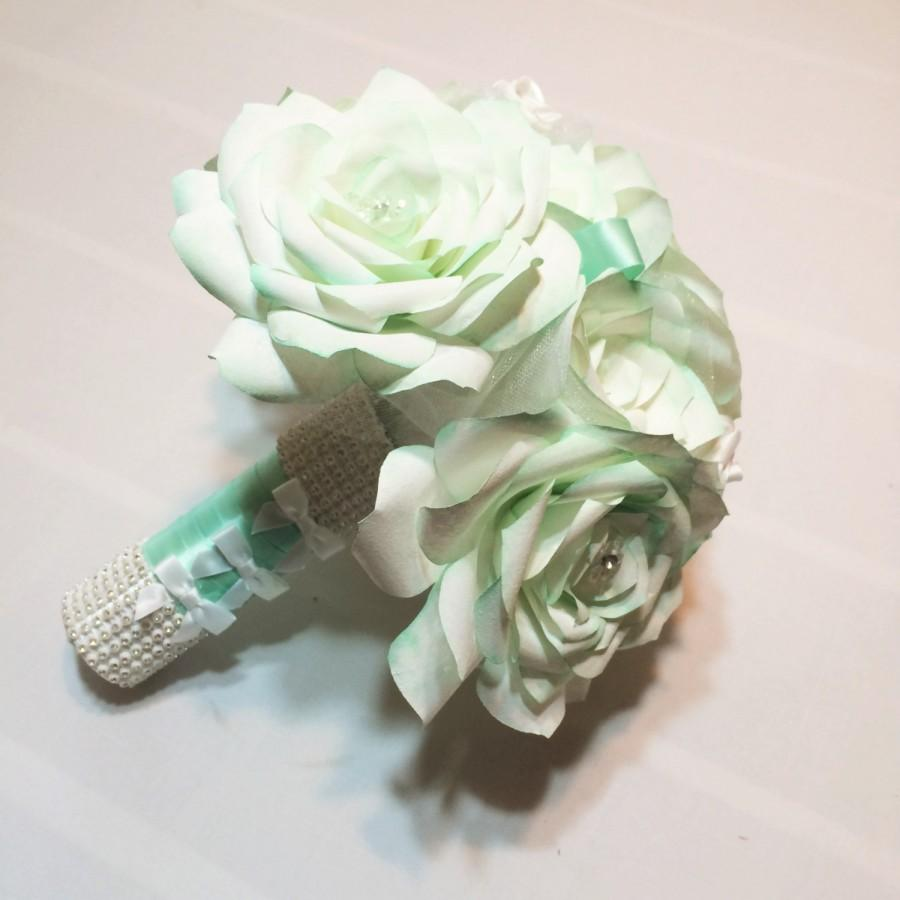 Mint Green And White Bridal Bouquet Handmade Paper Rose Wedding