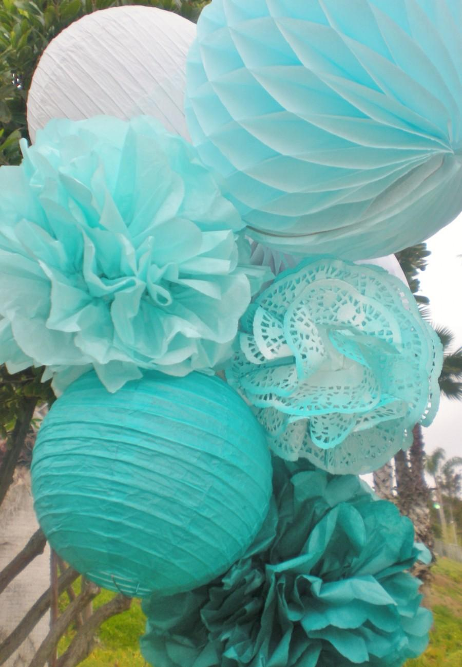 Свадьба - Blue ombre tissue pom poms, honeycomb balls, and paper lanterns set, white, aqua, teal, dark teal