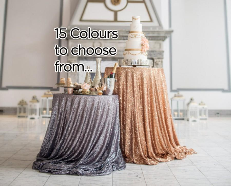"Свадьба - 72"" Sequin Tablecloth - Pick Your Colour - Square Tablecloth, Sparkle Tablecloth, Glitter Table Cover - Wedding / Event Supplies"