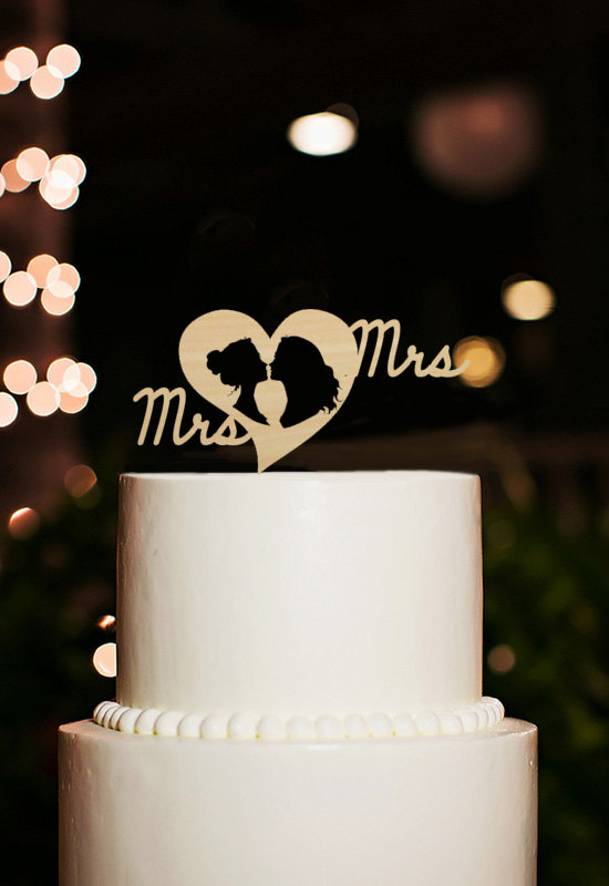 Mariage - Lesbian Cake Topper,Mrs and Mrs Cake Topper,Same Sex Cake Topper,Romantic Silhouette Cake Topper,Rustic Wedding Cake Topper,Custom Topper