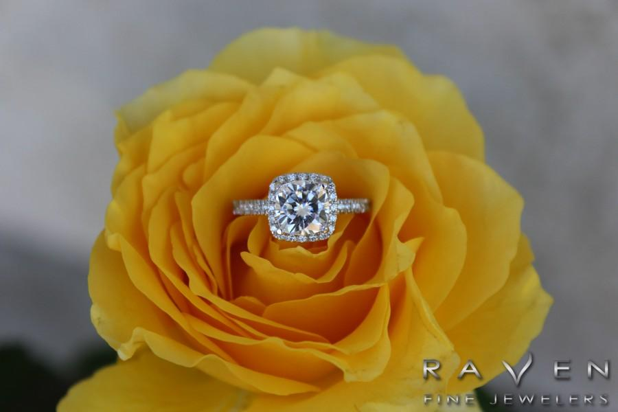 Wedding - Raven Fine Jewelers - 2 carat Cushion Cut Forever One Moissanite & Diamond Halo Engagement Ring - Diamond Rings for Women