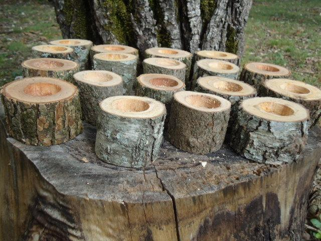 "Свадьба - 12 Rustic 2"" wood candle holders sticks for votive candles, weddings, cabins, decoration, decor, natural tree branch,"