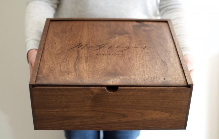 Mariage - Large Keepsake Box - Wooden Box - Wedding Card Box - Wooden Photo Box - Father's Day Gift - Memory Box - Anniversary Gift -Baby Keepsake Box